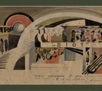 Кротиков Борис. Эскиз декорации. 1925г. Бум., акв.
