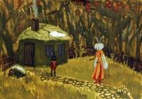 215.Цубко Оля. И.А. Крылов «Стрекоза и муравей» илл. 12 лет 1кл преподаватель Андреева В.И. 1999г