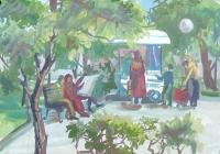 231.Сугачкова Таня. Сквер на площади Маркина. 15 лет 3кл преподаватель Андреева В.И. 2002г